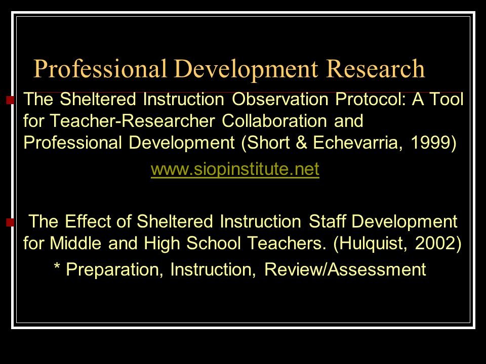 Professional Development Research