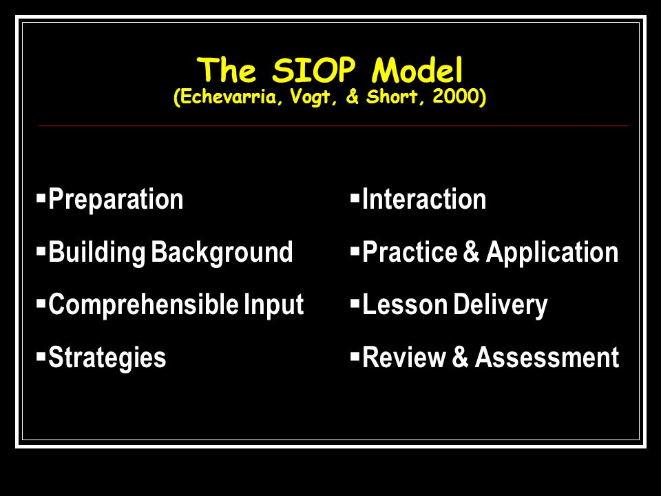 The SIOP Model (Echevarria, Vogt, & Short, 2000)