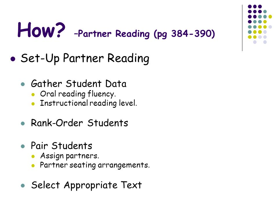 How –Partner Reading (pg )