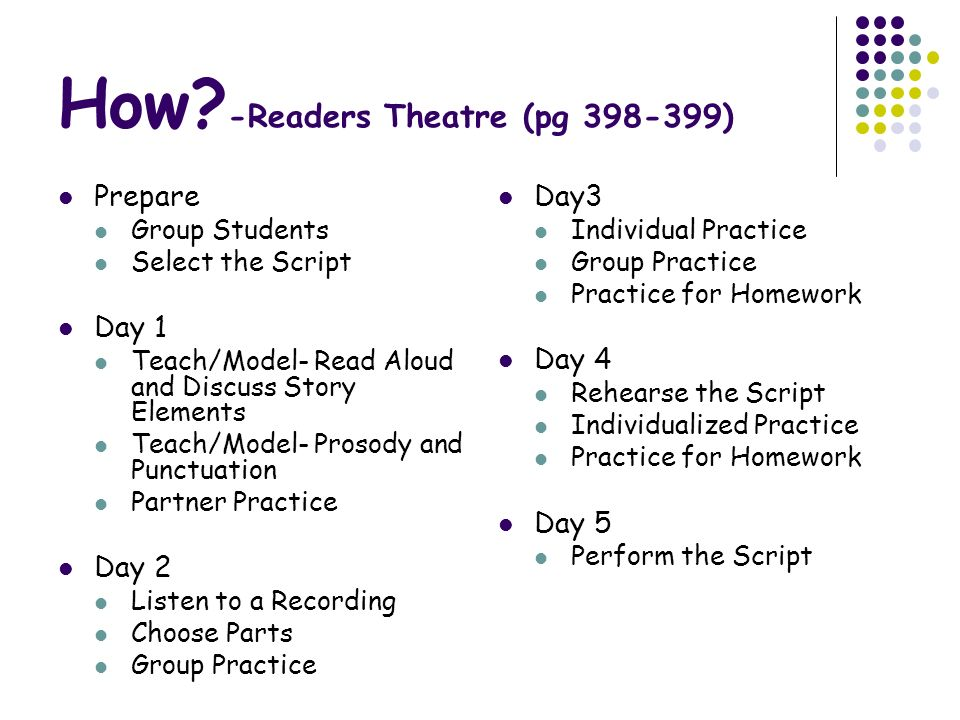 How -Readers Theatre (pg 398-399)