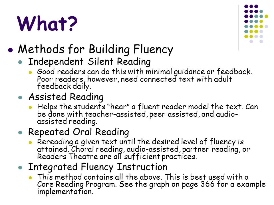 What Methods for Building Fluency Independent Silent Reading