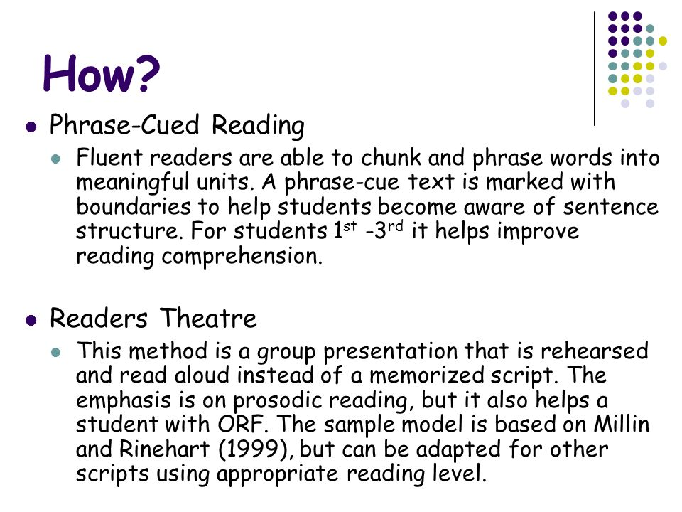 How Phrase-Cued Reading Readers Theatre