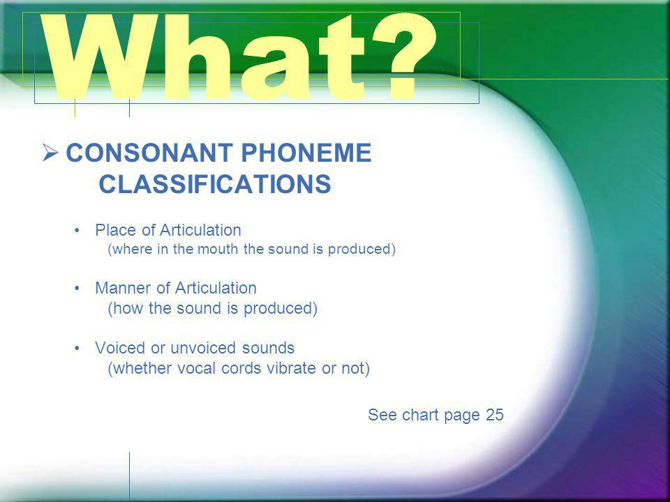What CONSONANT PHONEME CLASSIFICATIONS Place of Articulation