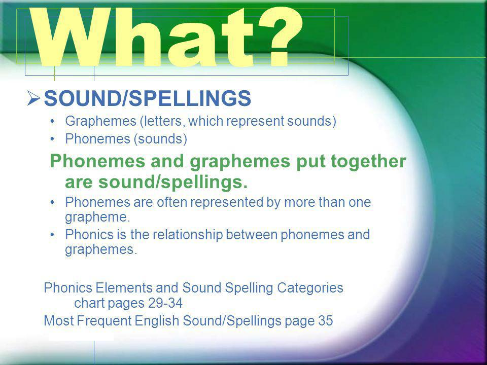 What SOUND/SPELLINGS. Graphemes (letters, which represent sounds) Phonemes (sounds) Phonemes and graphemes put together are sound/spellings.