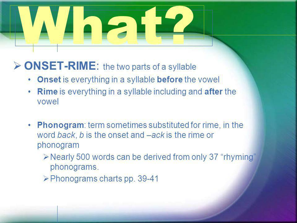 What ONSET-RIME: the two parts of a syllable