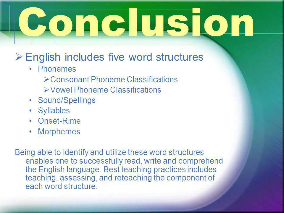 Conclusion English includes five word structures Phonemes