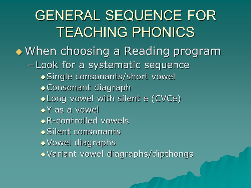 GENERAL SEQUENCE FOR TEACHING PHONICS