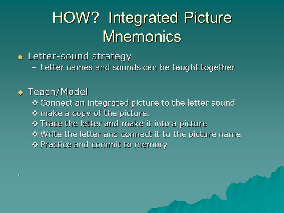 HOW Integrated Picture Mnemonics