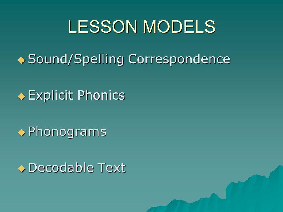 LESSON MODELS Sound/Spelling Correspondence Explicit Phonics