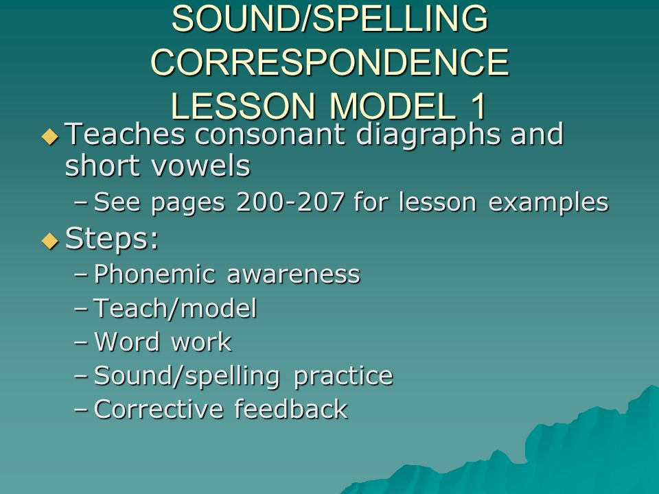 SOUND/SPELLING CORRESPONDENCE LESSON MODEL 1