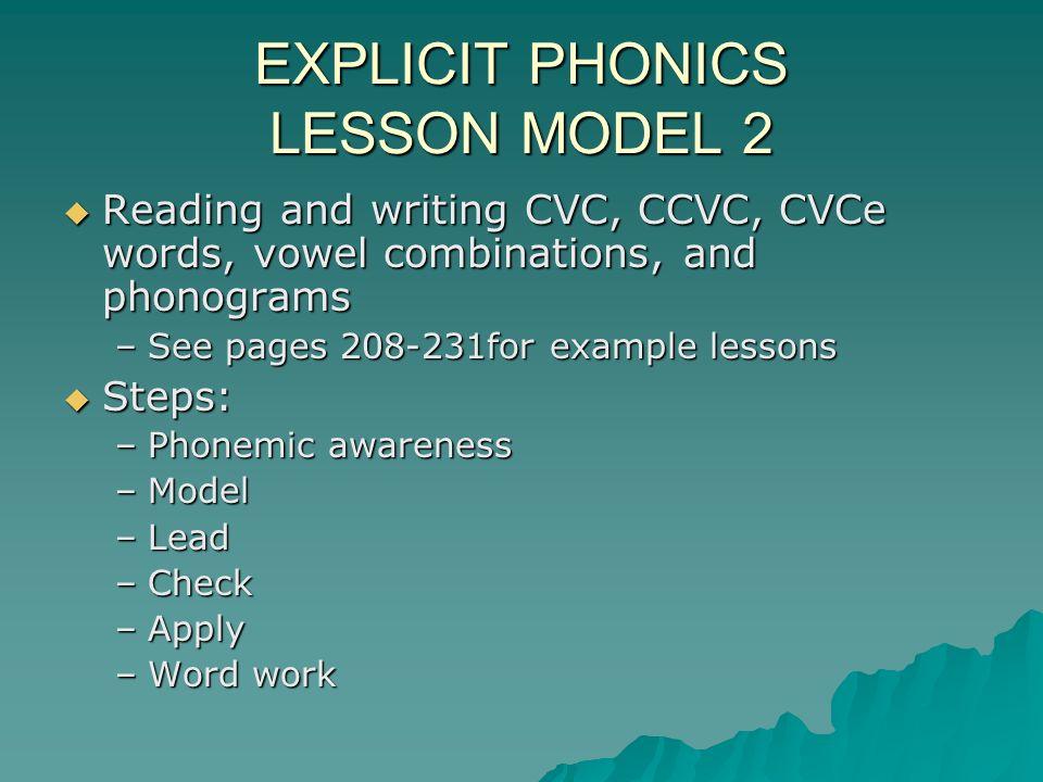 EXPLICIT PHONICS LESSON MODEL 2