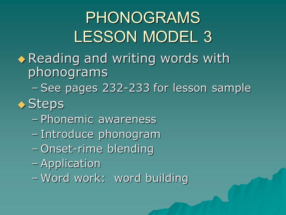 PHONOGRAMS LESSON MODEL 3