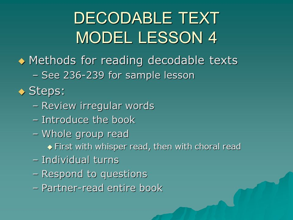 DECODABLE TEXT MODEL LESSON 4