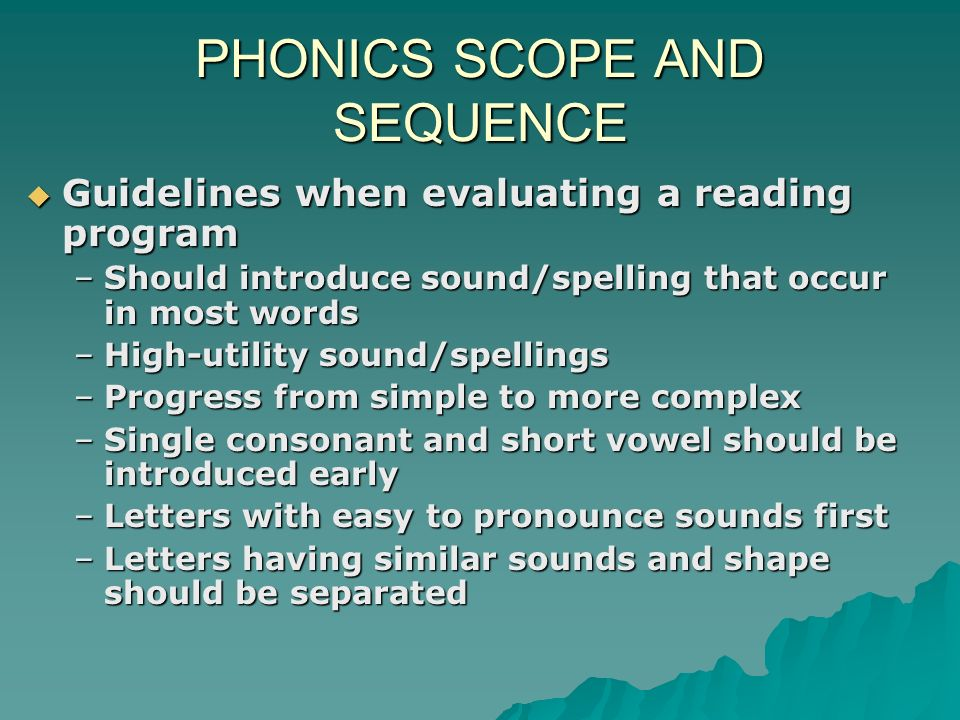 PHONICS SCOPE AND SEQUENCE