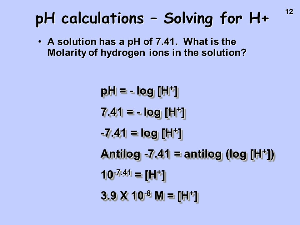 pH calculations – Solving for H+