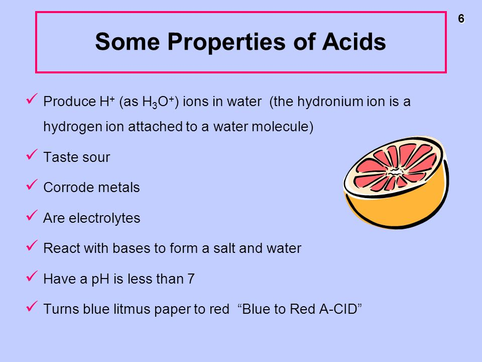 Some Properties of Acids