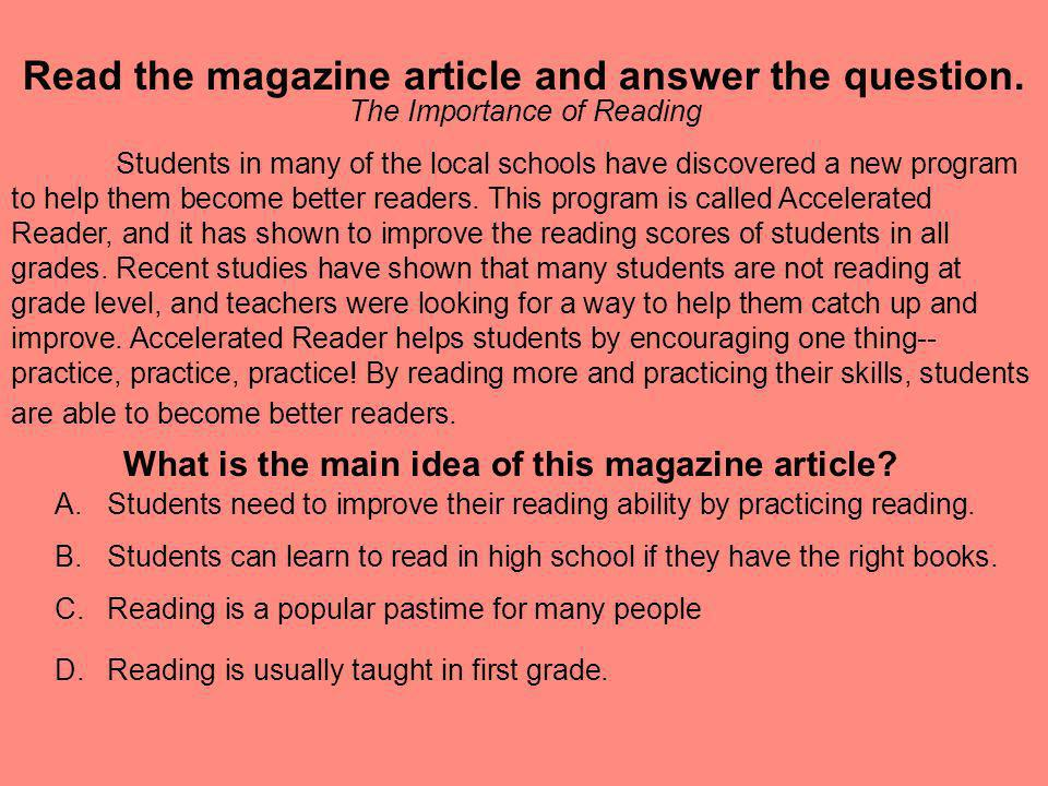 Read the magazine article and answer the question.