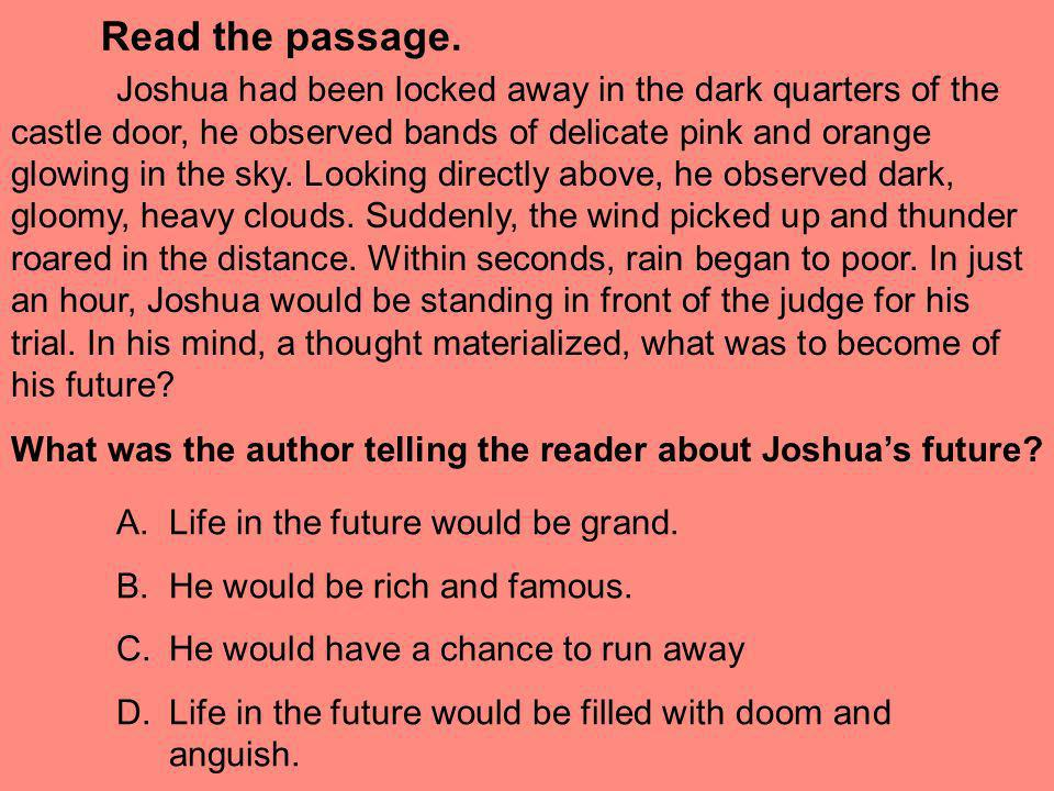 What was the author telling the reader about Joshua's future
