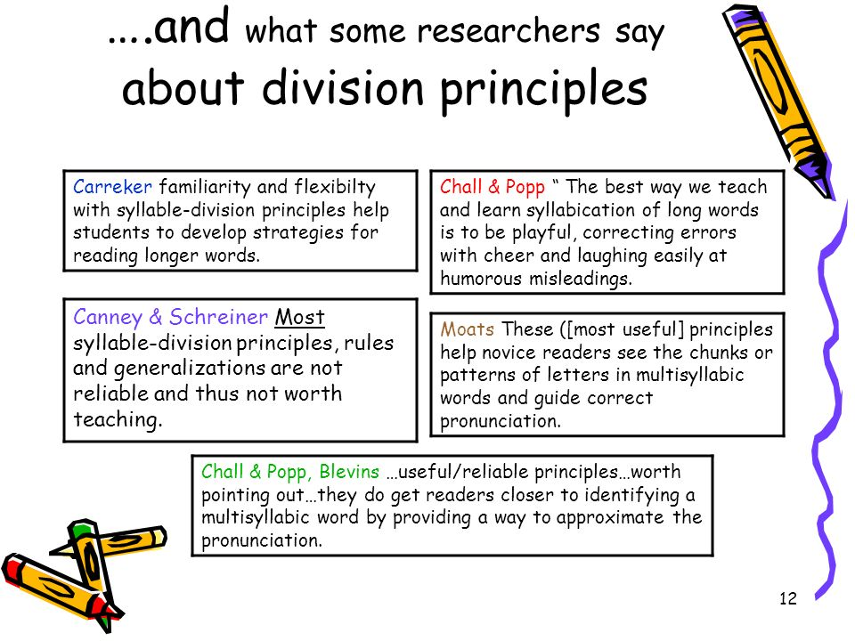 ….and what some researchers say about division principles