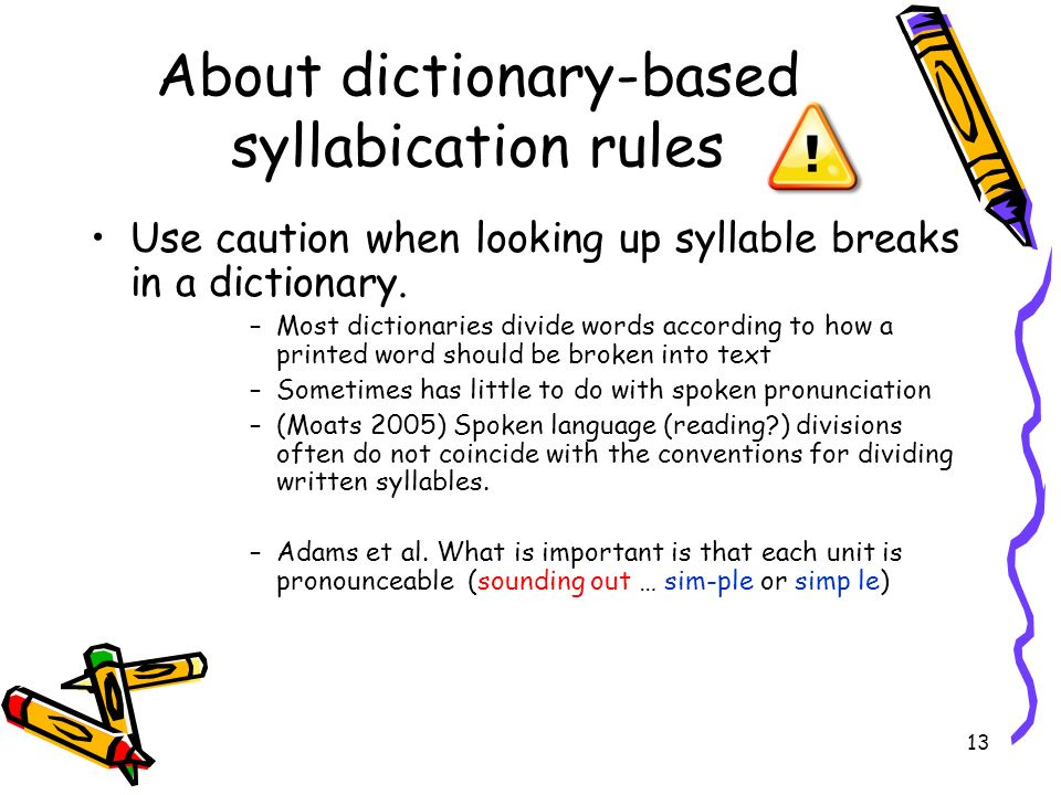 About dictionary-based syllabication rules