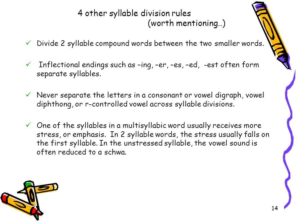 4 other syllable division rules (worth mentioning..)