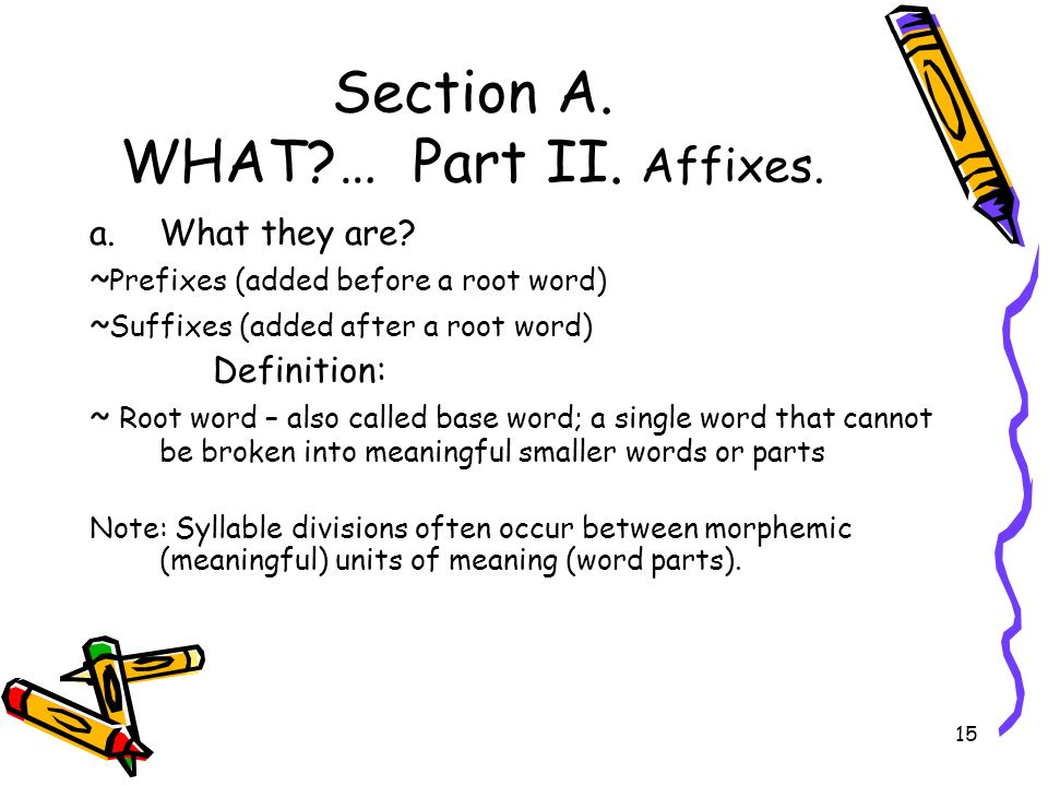 Section A. WHAT … Part II. Affixes.