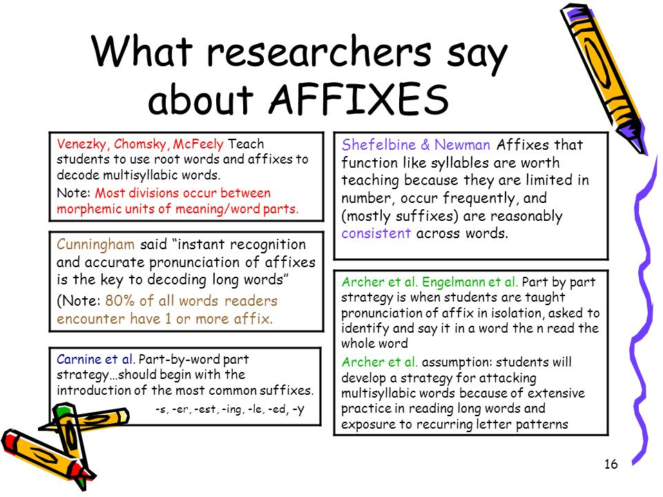 What researchers say about AFFIXES