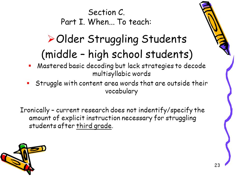 Section C. Part I. When... To teach:
