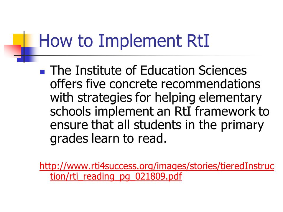 How to Implement RtI