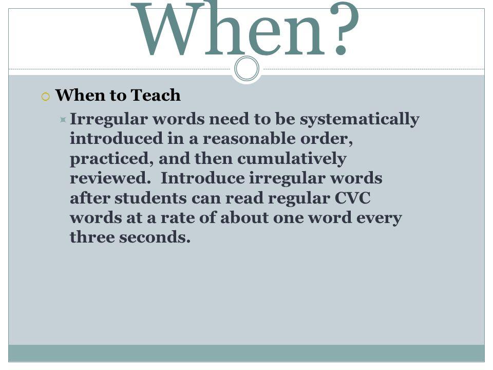 When When to Teach.