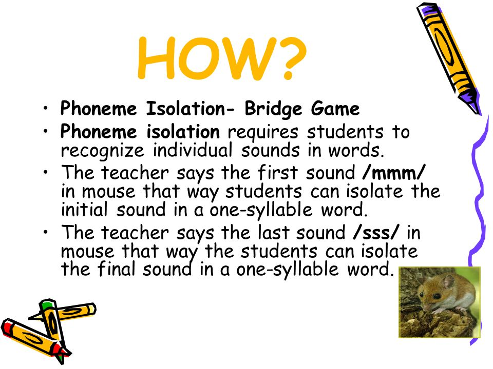 HOW Phoneme Isolation- Bridge Game