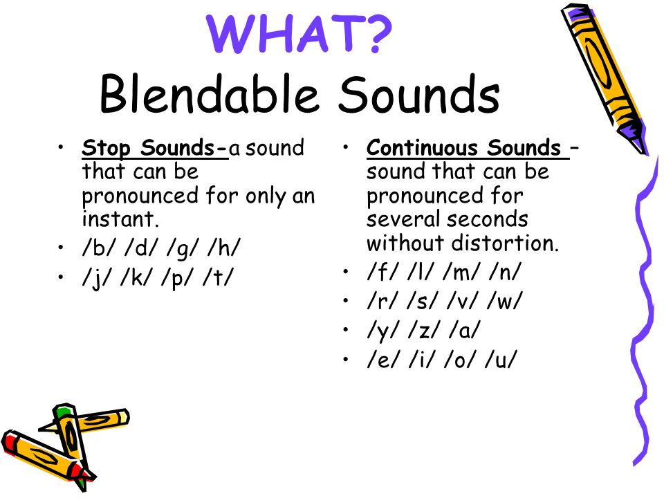 WHAT Blendable Sounds Stop Sounds-a sound that can be pronounced for only an instant. /b/ /d/ /g/ /h/