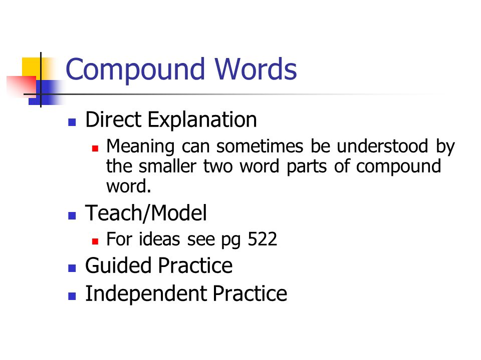 Compound Words Direct Explanation Teach/Model Guided Practice