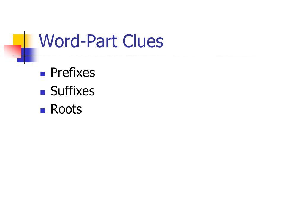 Word-Part Clues Prefixes Suffixes Roots