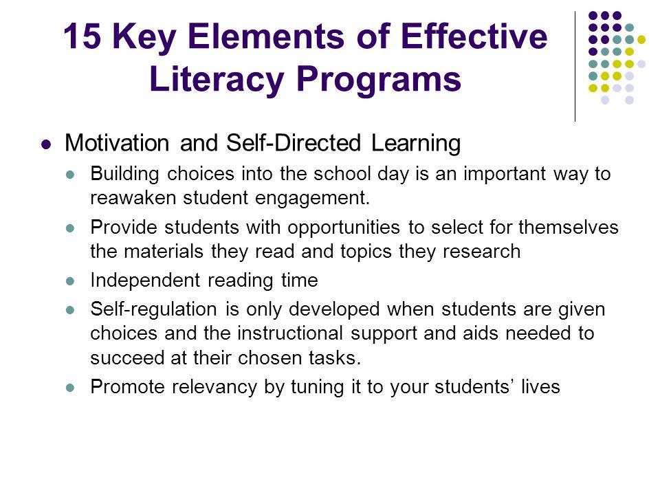 15 Key Elements of Effective Literacy Programs