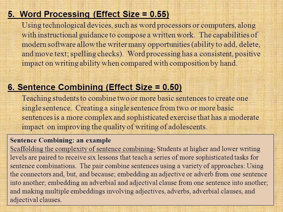 5. Word Processing (Effect Size = 0.55)