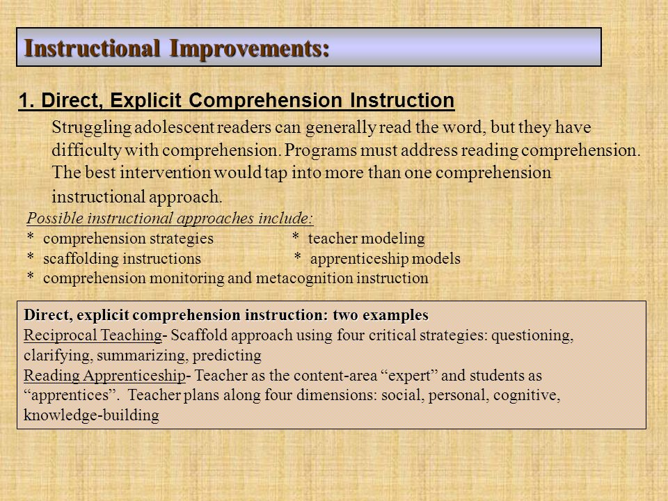 Instructional Improvements: