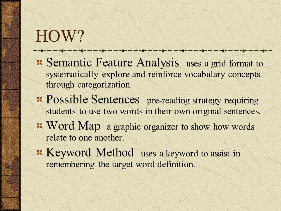 HOW Semantic Feature Analysis uses a grid format to systematically explore and reinforce vocabulary concepts through categorization.