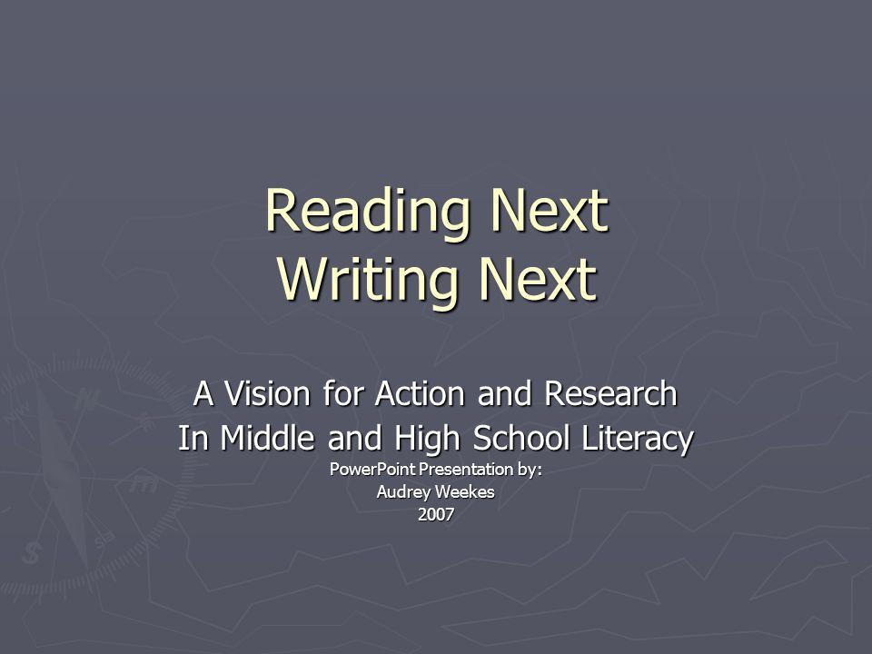 Reading Next Writing Next