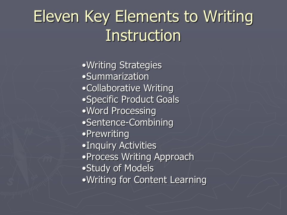 Eleven Key Elements to Writing Instruction