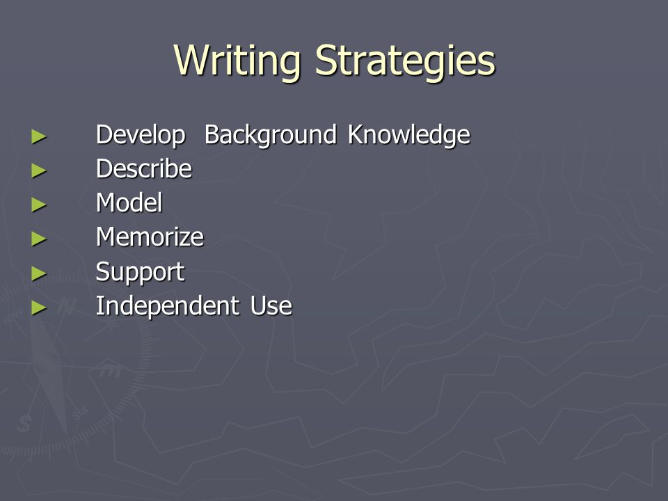 Writing Strategies Develop Background Knowledge Describe Model