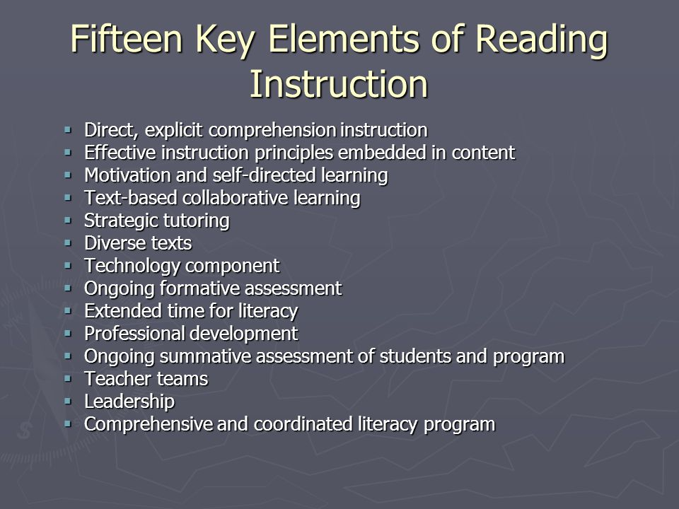Fifteen Key Elements of Reading Instruction