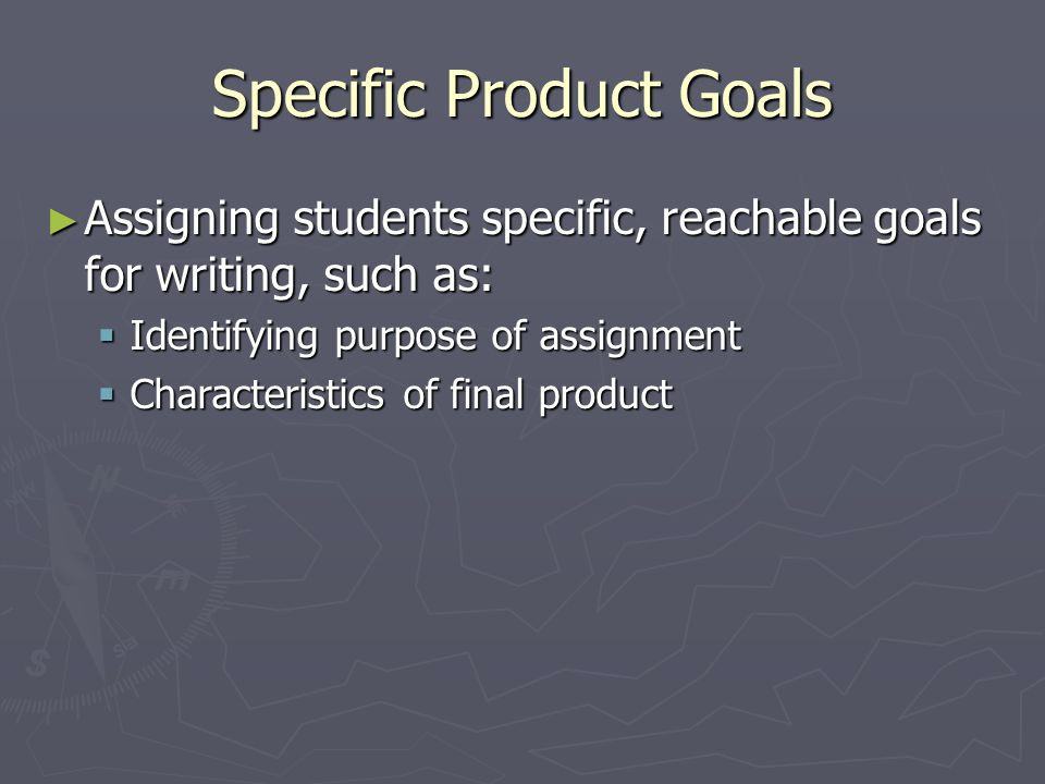 Specific Product Goals