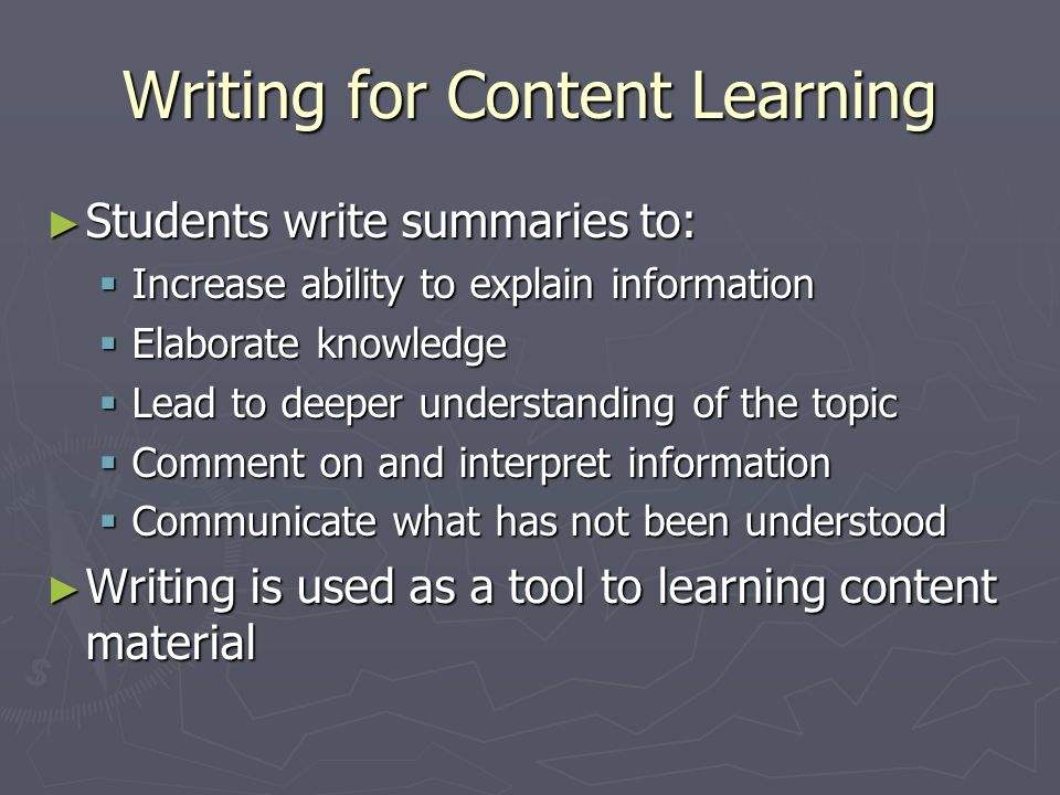 Writing for Content Learning