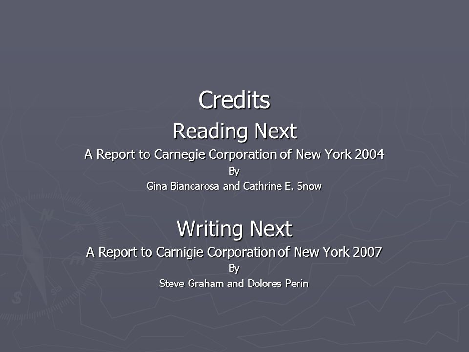 Credits Reading Next Writing Next
