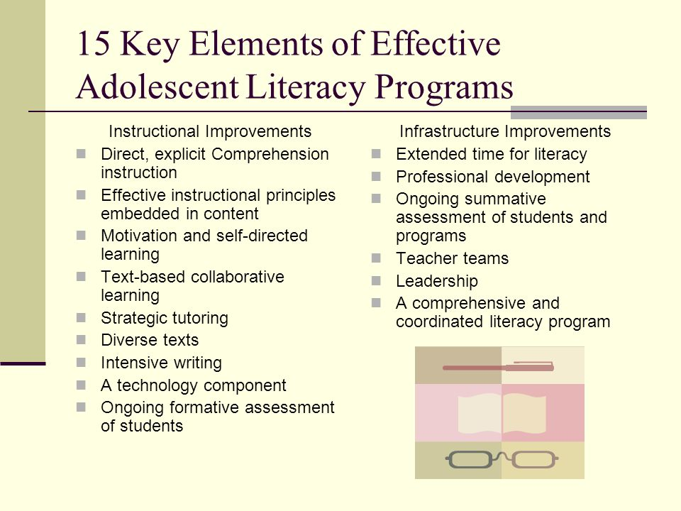 15 Key Elements of Effective Adolescent Literacy Programs
