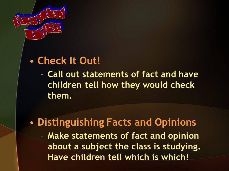 Distinguishing Facts and Opinions