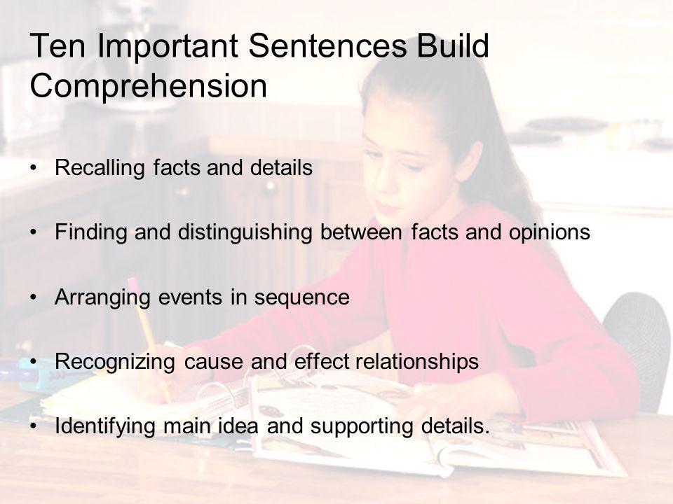 Ten Important Sentences Build Comprehension