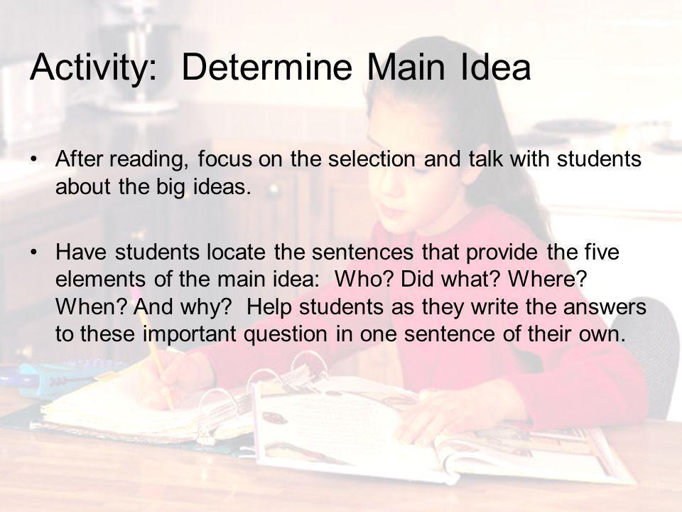 Activity: Determine Main Idea