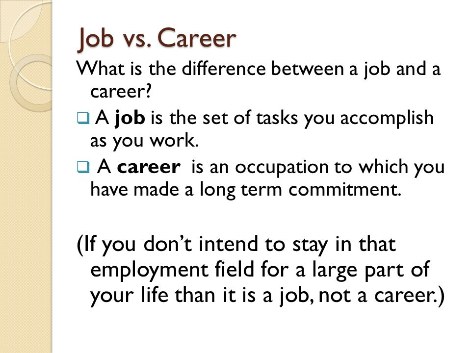 work vs. employment vs. occupation essay Is a job the same as a career having a career means you have education, experience, and jobs in one field or career cluster  what's a job vs a career a job can be just going to work.